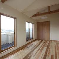 洋室は勾配天井と床は杉材を使用